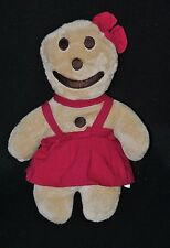 Peluche doudou bonhomme biscuit EURO SOUVENIRS GMBH beige robe rouge 29 cm NEUF
