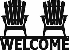 Extra Large Welcome Adirondack Chairs Metal Sign Art - Beach / Lake House 24x17""