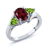 1.92 Ct Oval Rhodolite Garnet and Green Peridot 925 Silver Ring