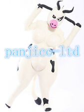 Latex Rubber White and Black Inflatable Catsuit Cute Cows Suit Size XXS- XXL