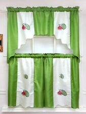 VERY FRUITS 3pcs swag & tier set / cafe curtain set. GREEN WATERMELON