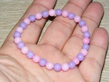 Mountain Jade Pink & Purple Gemstone Bracelet 6mm A Grade Beads (HM31F)