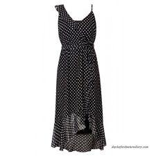 City Chic XS 14 Dress Spot Dot White Black
