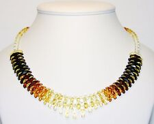 Luxury Baltic Amber Adult Necklace, Rainbow color Faceted Beads Cleopatra 45 cm