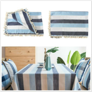 Rectangular Striped Tablecloths Waterproof Kitchen Home Dining Table Cover YI