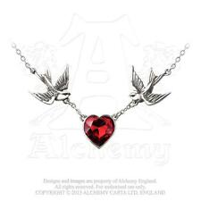 GENUINE Alchemy Gothic Swallow Heart Pendant Ladies Pewter Crystal Necklace