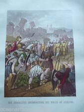 Antique Print C1870'S Israélites englobant les Murs de Jéricho BIBLE Jésus