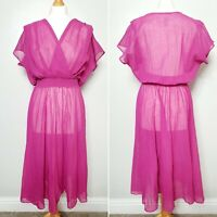 M&S ST MICHAEL True Vintage Pink Sheer Coverup Layered Wrap Dress - UK Size 14L