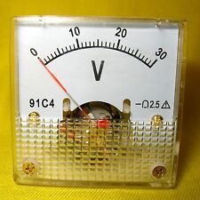 Volt Meter 30V Analog Square Gauge Voltage Panel Display Solar Battery 24V DC 91