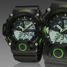 OHSEN Mens Military G Style Green Case Alarm Digital Shock Quartz Wrist Watches