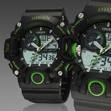 OHSEN Mens Military G Style Green Case Alarm Digital Shock Quartz Wrist Watches