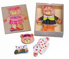 Kaper Kidz Children's Wooden Dressing Girl Bear! Pretend Play Dress up Puzzle!
