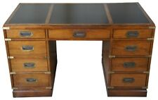 1975 Sligh Oak & Brass Leather Top Campaign Style Library Office Writing Desk