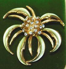 Beautiful Pale Green Enamel Rhinestone Flower Gold tone Brooch Pin 9h 12