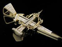 10k Yellow Gold Over Crown Of Thorns Nail Cross Diamond Pendant Charm 1.00 Ct