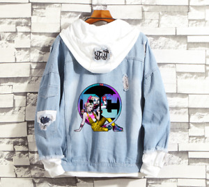 Harley Quinn Birds of prey Denim Jacket Hoodie Casual Bomber coat Sweatshirts