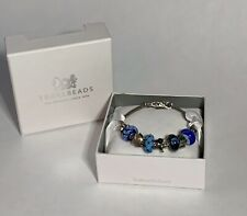 Authentic TROLLBEADS Sterling Silver Bracelet Lock Glass Beads Charms Gift Box