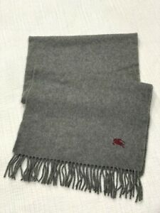 Burberry Burberry's Vintage Gray 100% Pure Cashmere Fringed Mens Scarf Red Logo
