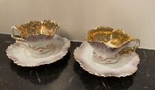 Antique RS Prussia Fine Porcelain Demitasse Cups & Saucers Set of 2