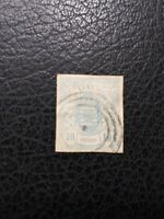 Luxembourg #7 Used, 1859 10c Blue, Scott Catalog Value $ 20.00
