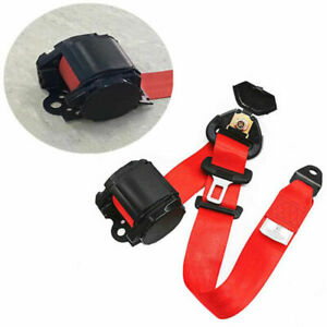 3 Point Red Car Auto Safety Seat Belts with Warning Cable Retractable Nylon AU
