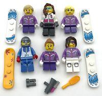LEGO 6 NEW FEMALE SNOWBOARDER MINIFIGURES WOMANS USA TEAM SKIER FIGURES