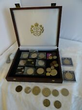 More details for job lot coins collection of about 50 various coins with mahogany? box  ch