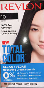 Revlon Total Color Hair Color, Clean and Vegan, 100% Gray Coverage - 10 BLACK