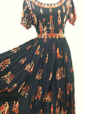 Vintage 90's womens BOHO black dress orange full length short sleeve size S