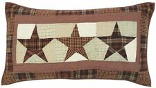 Abilene Star Hand Quilted Country Red Tan Patchwork Top Luxury King Pillow Sham
