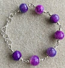 and silver Plated Bracelet Purple Crackled Agate Gemstone