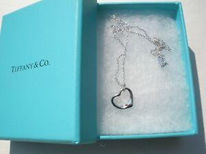 "TIFFANY & CO. ELSA PERETTI AG925 Sterling Silver  OPEN HEART 17"" Necklace"