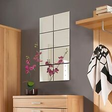8pc Mirror Tile Wall Sticker Square Self Adhesive Room Decor Stick On Art