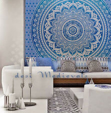 Ombre Blue Mandala indie Wall Tapestry Home Dorm Decor Bohemian Tapestry White