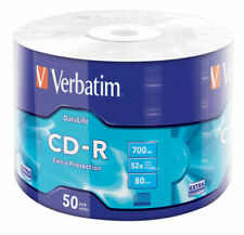 50 CD -R VERBATIM VERGINI VUOTI 52X 700MB PER AUDIO DATI VIDEO GAMES 43787 80min