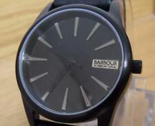 Mens Black Swiss Mvt Barbour International Bewick BB010BKBK Biker Leather Watch