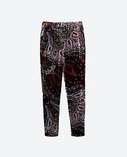 Zara Velvet Multi Coloured  Paisley Pattern Flowing Trousers Size Medium