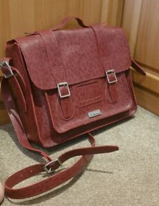 """STUNNING! Dr Martens 15"""" Burgundy Snake Effect Leather Satchel/Bag"""