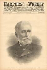 The Late General John C. Fremont, Obit. / Bio. w/text Vintage 1890 Antique Print