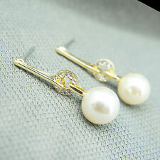 14k Gold Plated Pearl Dangle Elegant Earrings With Swarovski Elements