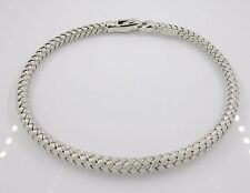 Solid 14k White Gold Woven Bracelet Made In Italy