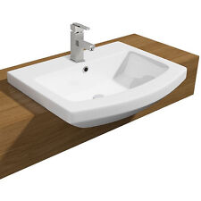 Semi-Recessed Ceramic Modern Basin Sink One Tap Hole 550mm Counter Top