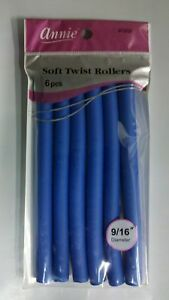 "ANNIE 9/16"" 6 CT. SOFT TWIST ROLLERS BLUE 7"" LONG #1202"