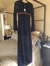 BNWT SKY Brand Lace Leather Maxi  Dress BLUE $350 Medium
