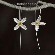 Silber Blüte Ohrringe Blume Schmuck Ohrhänger 925 Sterling Ohrschmuck Geschenk