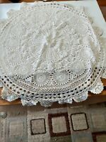 Vintage Hand Crocheted Lace Doily Table Topper Round 27 - White