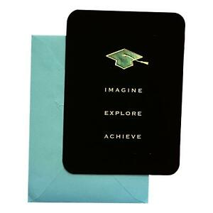 graduation Day Greeting Card - Imagine Explore Achieve - Deluxe, Textured Paper,