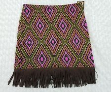 NWT Cowgirl Justice Knit Skirt Sz Medium Diamond Pattern Pink Green Fringe II