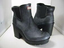sz 8/ 39 NEW HUNTER 'Original Block Heel' Chelsea black Rain Boot $195