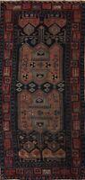 Antique Pre-1900 Geometric Heriz Area Rug Wool Hand-knotted Oriental Carpet 4x9